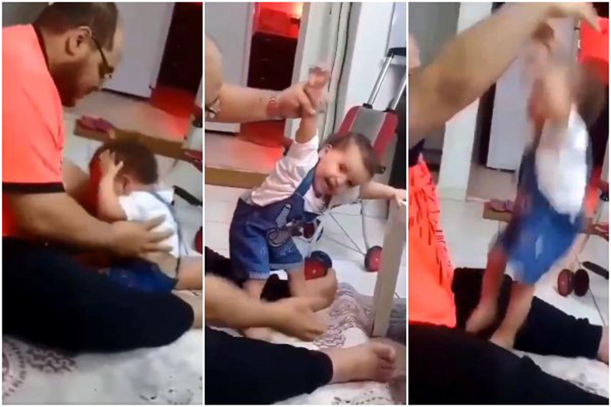 Hombre golpea a bebé para enseñarle a caminar — Arabia Saudita