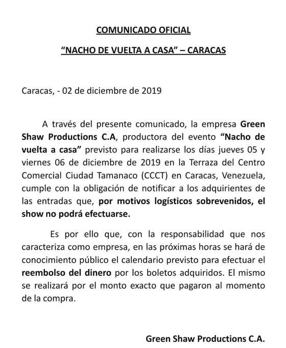 Suspendidos conciertos de Nacho en Caracas