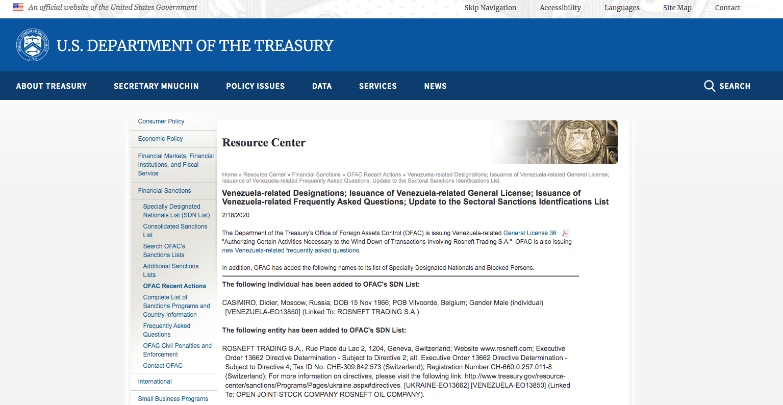 Departamento del Tesoro de EE UU sancionó a la petrolera rusa Rosneft 1