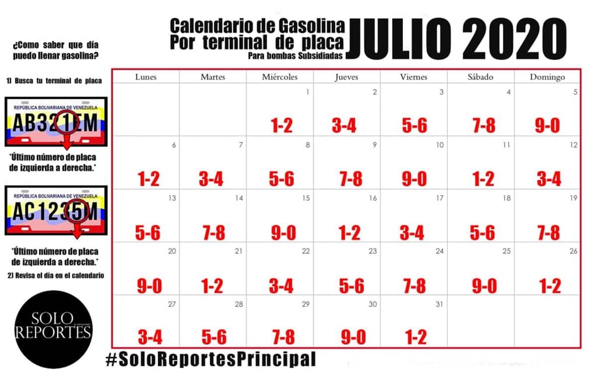 Cronograma de la venta de gasolina julio